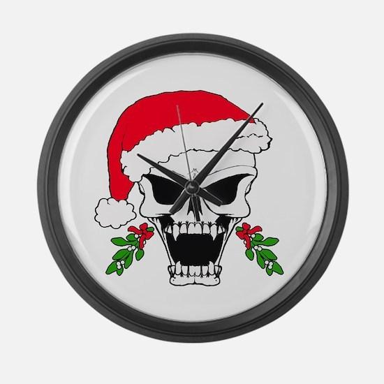 Santa skull Large Wall Clock