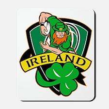Irish leprechaun rugby player ball shamr Mousepad