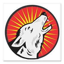 """wolf with star Square Car Magnet 3"""" x 3"""""""