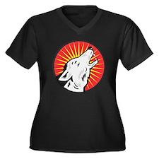 wolf with st Women's Plus Size Dark V-Neck T-Shirt