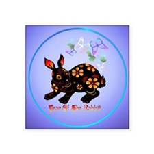 "Year Of The Rabbit In Black Square Sticker 3"" x 3"""