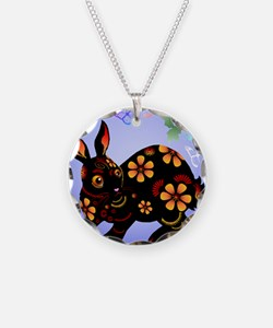 Year Of The Rabbit in Black  Necklace