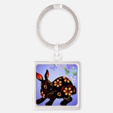 Year Of The Rabbit in Black Poster Square Keychain
