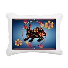 Black Designed Rabbit-Ya Rectangular Canvas Pillow