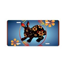 Black Designed Rabbit-Yards Aluminum License Plate