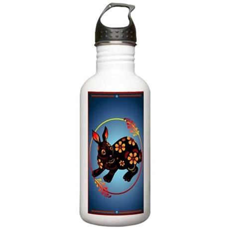 Black Designed Rabbit Stainless Water Bottle 1.0L