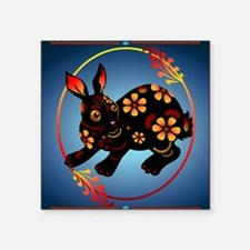 "Black Designed Rabbit_pillo Square Sticker 3"" x 3"""