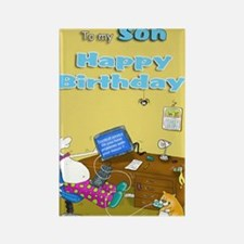 mouse trouble,happy birthday son  Rectangle Magnet
