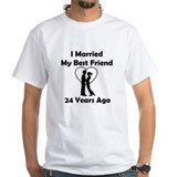 24th wedding anniversary Mens White T-shirts