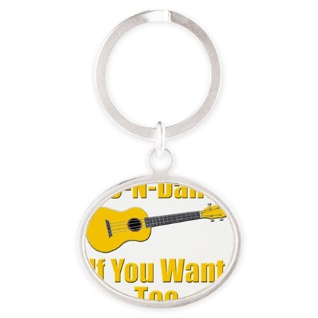 funny ukulele t-shirts and gifts des Oval Keychain