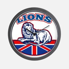 Lion sitting GB British union jack flag Wall Clock