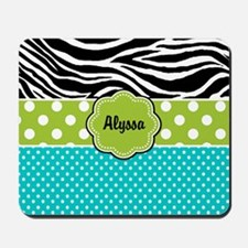 Blue Green Zebra Personalized Mousepad