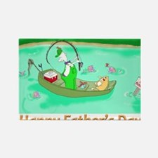 Hooked, happy fathers day card Rectangle Magnet
