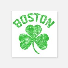 "Boston Grunge - dk Square Sticker 3"" x 3"""