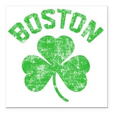 "Boston Grunge - dk Square Car Magnet 3"" x 3"""