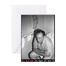 BUKOWSKI ON THE CAN BY SAM CHERRY Greeting Card