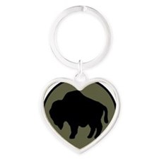 92nd Infantry Division Heart Keychain