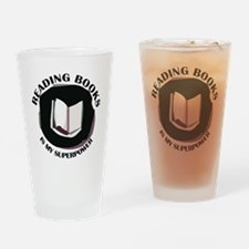 reading books is my superpower Drinking Glass