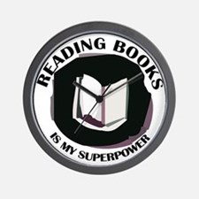 reading books is my superpower Wall Clock