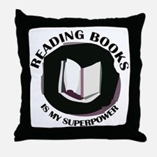 reading books is my superpower Throw Pillow