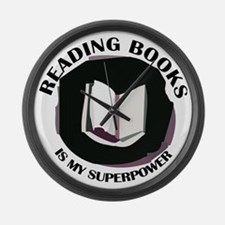 reading books is my superpower Large Wall Clock