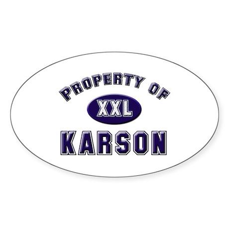 Property of karson Oval Sticker