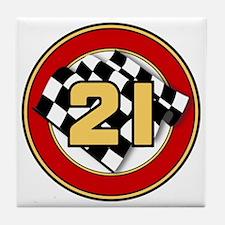 CAR 21 CHECKERED FLAG Tile Coaster
