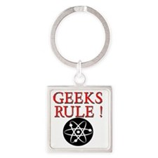 Geeks Rule !  with Atom Square Keychain