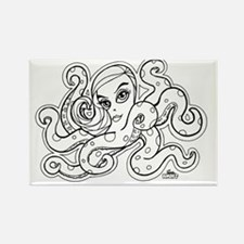 octopus b/w Rectangle Magnet