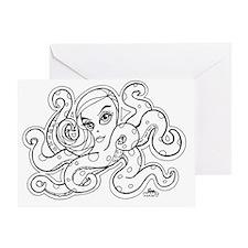 octopus b/w Greeting Card