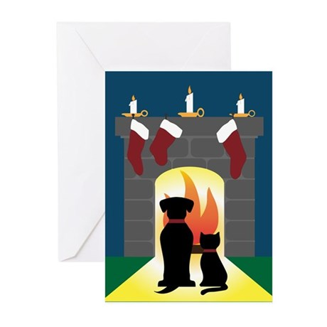 Dog and Cat Fireplace Greeting Cards