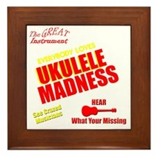 funny ukulele madness uke design Framed Tile