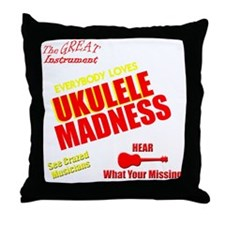funny ukulele madness uke design Throw Pillow