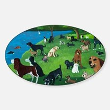 Sunday in the Park card Sticker (Oval)