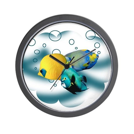 Tropical fish wall clock by kapers for Fish wall clock