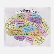 Quilters Brain2 Throw Blanket