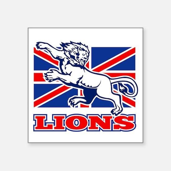 "British Lion rugby  attacki Square Sticker 3"" x 3"""