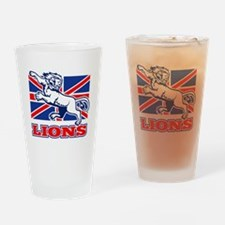 British Lion rugby  attacking  unio Drinking Glass