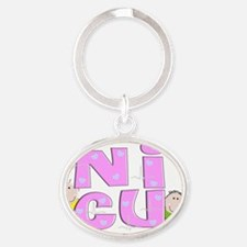 NICU PINK BLOCK LETTERS Oval Keychain