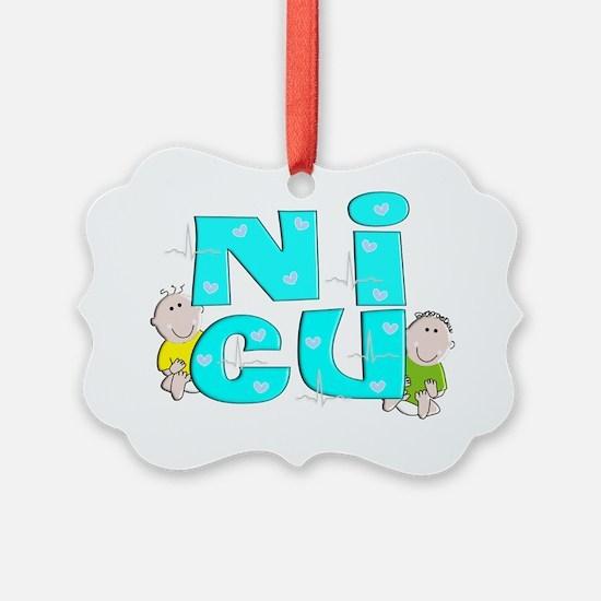 NICU Block Blue Ornament