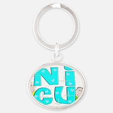 NICU Block Blue Oval Keychain
