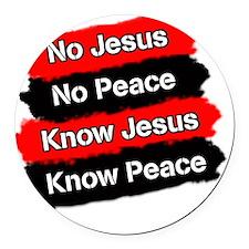 No Jesus - No Peace Round Car Magnet