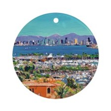 View of San Diego Bay by Riccoboni9 Round Ornament