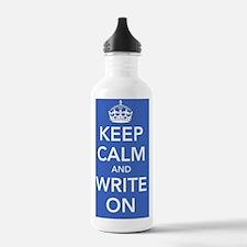 writeonnotebookblue Water Bottle