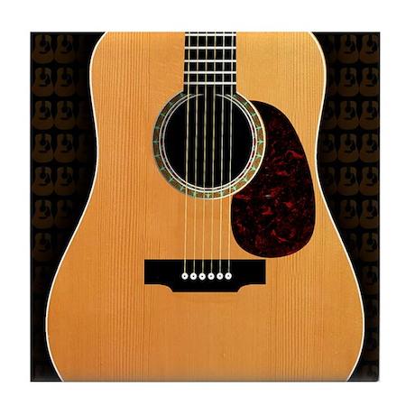 Acoustic Guitar Framed Panel Print Co Tile Coaster