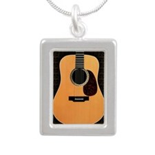acoustic-guitar-framed p Silver Portrait Necklace