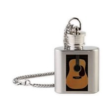 acoustic-guitar-framed panel print  Flask Necklace