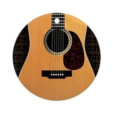 acoustic-guitar-framed panel print  Round Ornament