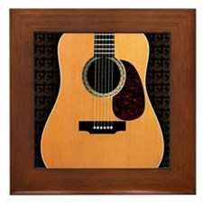 acoustic-guitar-framed panel print cop Framed Tile