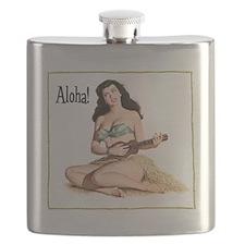 Brunette Pinup Aloha Flask